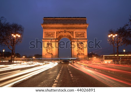 Arc de Triomphe & champs elysees, Paris, at night