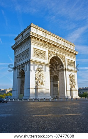 Arc de Triomphe in early morning, Paris, France