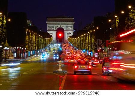 Arc de Triomphe in Paris Arch of Triumph sunset at France