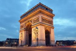 Arc de Triomphe in Paris, France at night