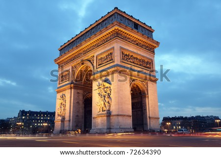 Arc de Triomphe in Paris, France at night