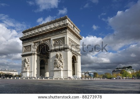 Arc de Triomphe in Paris France with dramatic clouds and blue sky