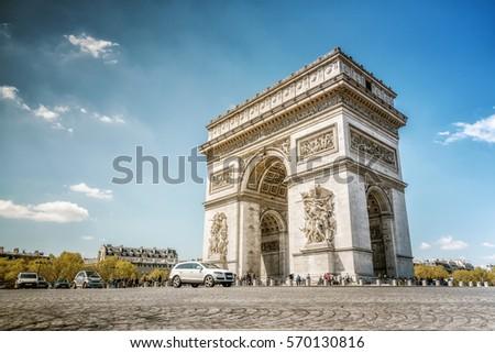 Shutterstock arc de triomphe in paris in summer