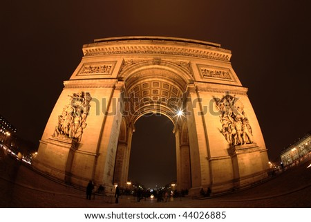Arc de Triomphe, Paris, at night