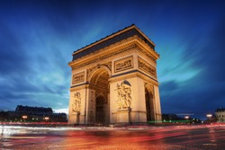 Arc de Triomphe Paris city at sunset - Arch of Triumph