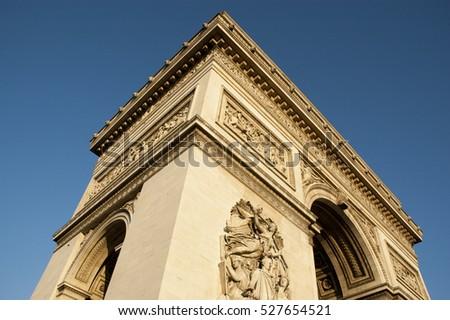 Arc de Triomphe, Paris, France. Blue sky, beautiful French icon in bright sunlight Stockfoto ©