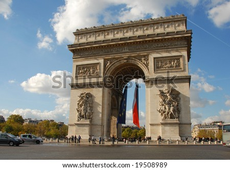 Arc de Triomphe, Paris, France, in a day of autumn