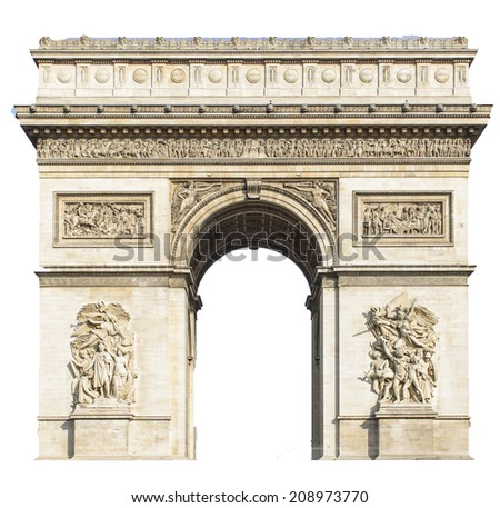 Arc de Triomphe, Paris, France - Isolated on white background