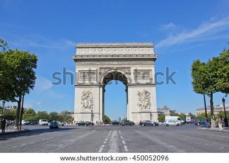 Arc de Triomphe Paris, France - September 02, 2010 Part of Arc de Triomphe. Arc de Triomphe is one of the most famous monuments in Paris. Arc de Triomphe, View from Avenue des Champs-Elysees