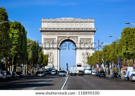 Arc de Triomphe Paris France View from Avenue des Champs-Elysees