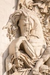 Arc de Triomphe statue close up, horses fighting