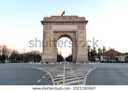 Arc de Triumph, Church of Bucharest, Romania