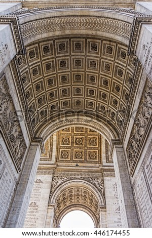 Arc de Triumphe stone vault carving ornaments, Paris, France.