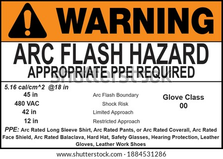 Arc Flash Warning Label for Electrical Safety Stock fotó ©