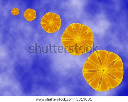 Arc of orange slices or sand dollars in the sky.