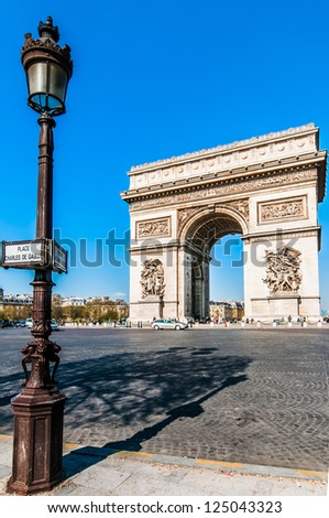 arc of triumph in the city of Paris in france