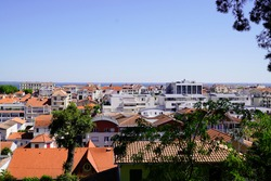 Arcachon city in southwest france in top view from winter town parc