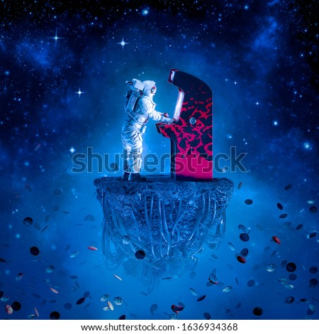 Arcade gamer astronaut / 3D illustration of surreal science fiction scene with astronaut playing retro video game on artificial asteroid in outer space