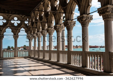Arcade - Internal View from Doge's Palace, Gothic architecture in Venice, Italy