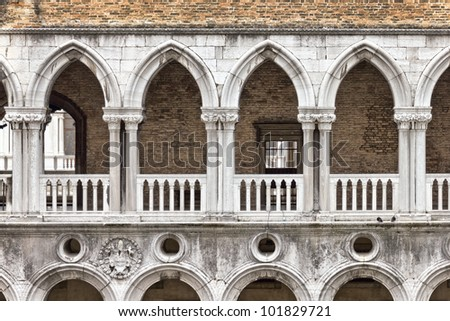 Arcade of the Doge\'s Palace, beautiful example of Gothic architecture in Venice, Italy