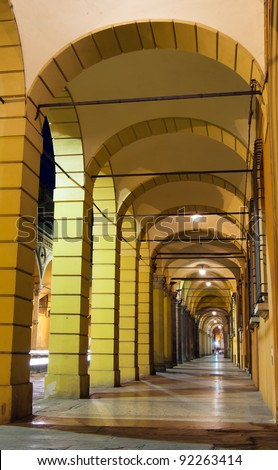 Arcades in Bologna by night, Italy
