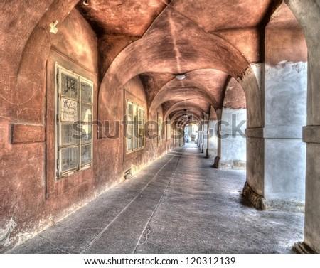 arcades of old Prague Hradcany