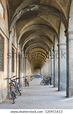 Arcades with Bicycles in Lucca,Tuscany, Italy