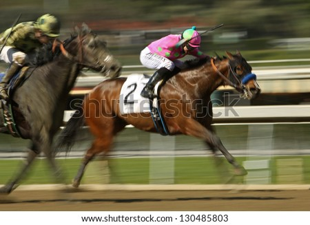 "ARCADIA, CA - FEB 23: Jockey Joseph Talamo and ""Splendid Fortune"" compete in an allowance  race at Santa Anita Park on Feb 23, 2013 in Arcadia, CA."
