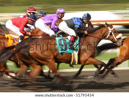 ARCADIA, CA - MAR 4: A tight field of competitors surge down the homestretch in a maiden race at Santa Anita Park on Mar 4, 2010 in Arcadia, CA.
