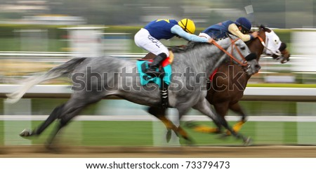 ARCADIA, CA - MAR 12: Hiatus & Corey Nakatini (gold cap) stretch out in an failed bid to beat Lucky Fitz & Martin Pedroza (blue cap) in a claimer at Santa Anita Park on Mar 12, 2011 in Arcadia, CA.