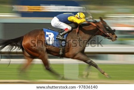 "ARCADIA, CA - MARCH 15: Jockey Daniel Vergara pilots ""Secret Genius"" to a 2nd place finish in a maiden race at Santa Anita Park on March 15, 2012 in Arcadia, CA."