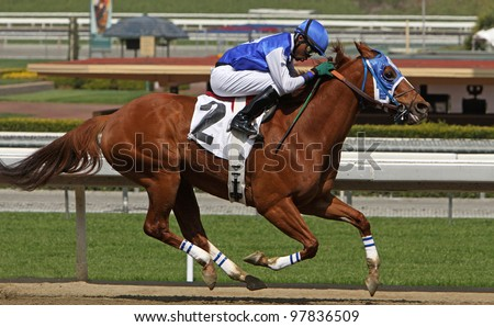 "ARCADIA, CA - MARCH 15: Jockey Kevin Krigger pilots ""Maui Mark"" to victory in a claiming race at Santa Anita Park on March 15, 2012 in Arcadia, CA."