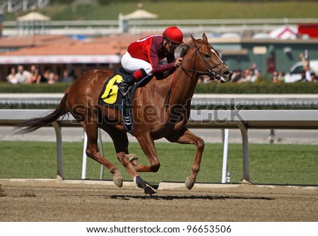 "ARCADIA, CA - MARCH 3: Jockey Martin Garcia and ""Baraja de Oro"" win the first race at Santa Anita Race Track on March 3, 2012 in Arcadia, CA."