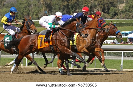 "ARCADIA, CA - MARCH 3: Jockey Martin Garcia pilots ""Stirred Up"" (nose in front) to his first win at Santa Anita Race Track on March 3, 2012 in Arcadia, CA."