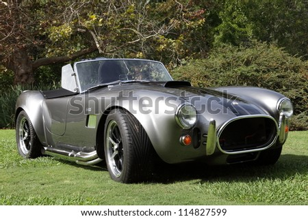 ARCADIA, CALIFORNIA, USA, OCTOBER 6, 2012. A car show of Cobras in the Arboretum in Arcadia on October 6, 2012.  The Shelby Cobra was an American-engined British sports car produced since 1962.