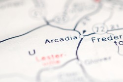 Arcadia. Missouri. USA on a geography map.