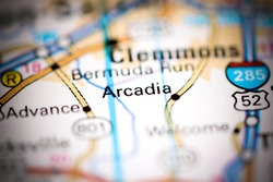 Arcadia. North Carolina. USA on a geography map