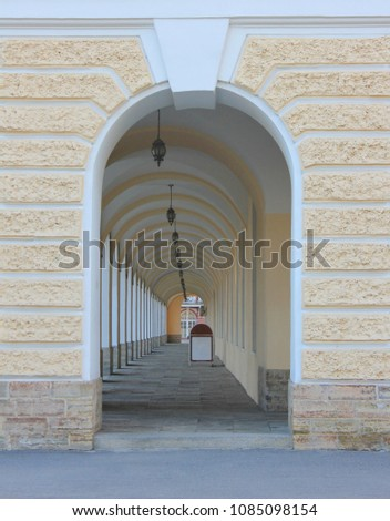 Arch Architecture Detail with Passage Corridor. Gallery Colonnade Perspective View of Arch Vault Tunnel Alley. Archway Passage in Old Historical Building Interior, Architectural Detail Street View. #1085098154