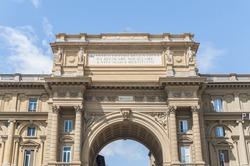 Arch at Piazza della Repubblica (Republic Square) a city square in Florence, Italy