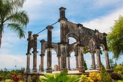 Arch. Bali, Indonesia. Ancient balinese ruins at Karangasem water palace