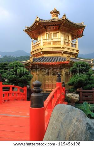 Arch Bridge and Pavilion in Nan Lian Garden, Hong Kong.