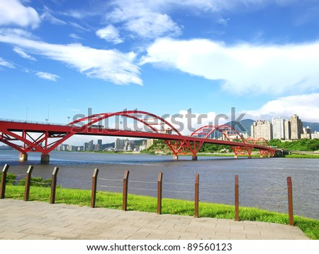 Arch bridge and river bank