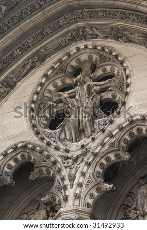 Arch detail on the Cathedral Church of Saint John the Divine above the main entrance