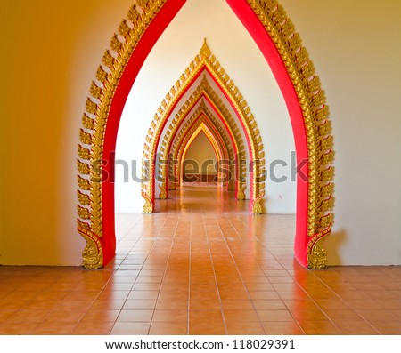 Arch door in Thai temple