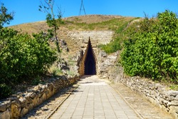 Arch entrance to Royal Kurgan, Kerch, Crimea. It was built in IV BC by ruler of Bosporan Kingdom as his resting place
