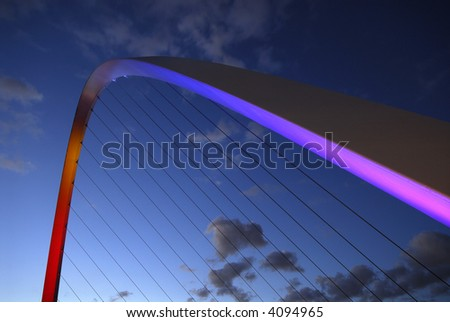 Arch from the Gateshead Millenium Bridge at Night