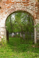 arch, gate of an abandoned Orthodox church, Knyazhevo village, Kostroma region, Russia, built in 1802