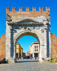 Arch of Augustus - Gate in the old town of Rimini, Italy. It was built in 27 BC and it is the oldest Roman arch which survives