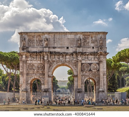 stock photo arch of constantine arch is located in rome between the colosseum and the palatine it was built 400841644 - Каталог — Фотообои «Балконы, арки»