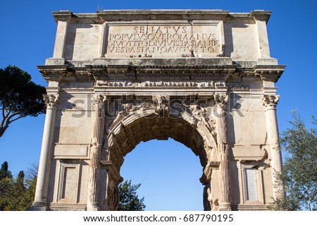 Arch of Constantine near colosseum, Rome, Italy #687790195
